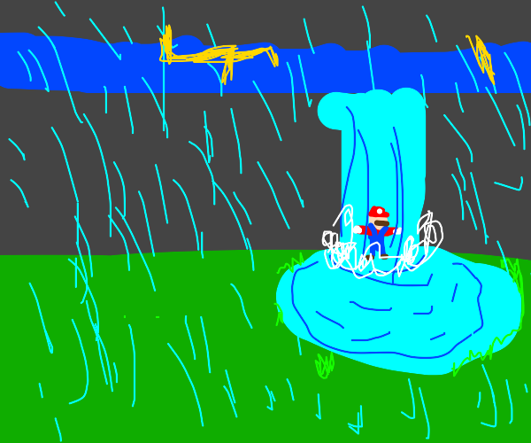 mario stuck in waterfall and thunderstorm