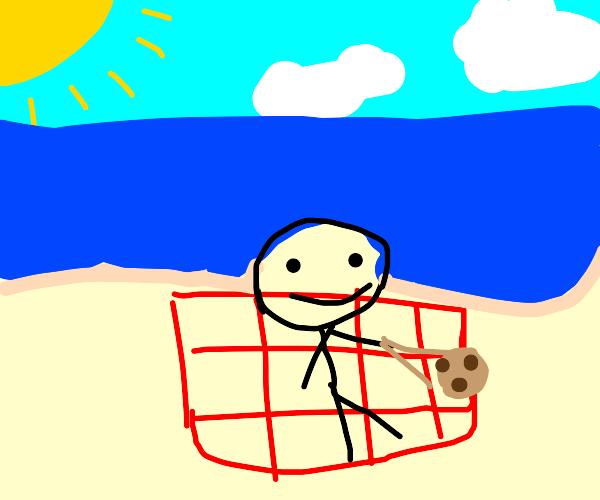 Using chopsticks to eat cookies on beach