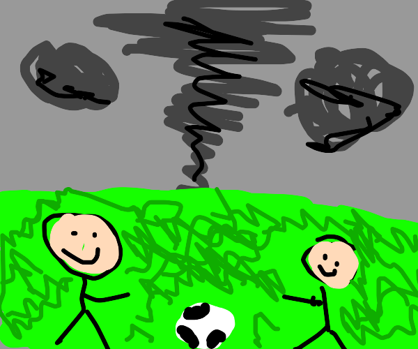 Children playing as a tornado approaches them
