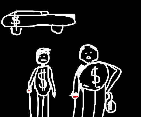 Two rich men wear money t-shirts