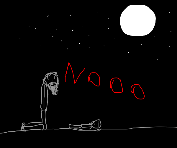 Bearded man screaming under a night sky