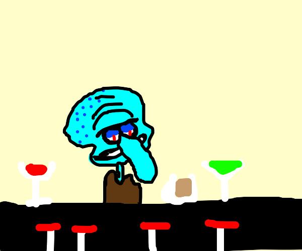evil squidward workin at a bar