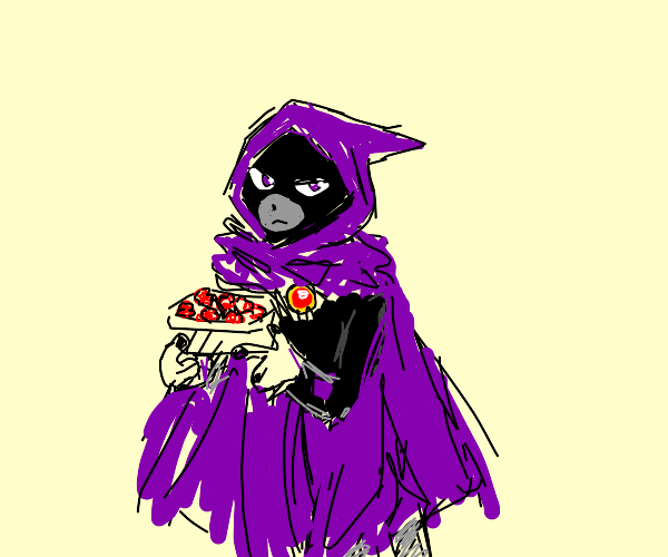 Raven eating Raspberries