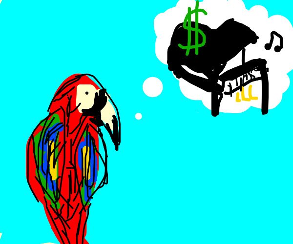 Parrot thinks about purchasing a grand piano