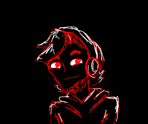 Smug man in headphones