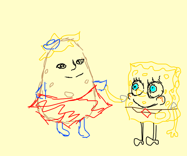 spongebob greets mrs puff who has a humanface