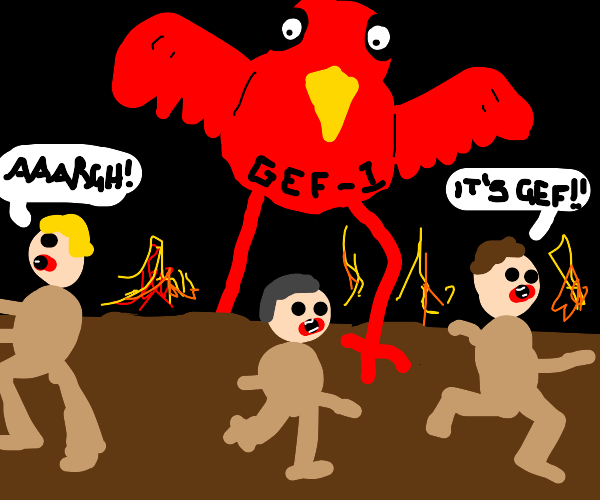 Evil red bird named Gef