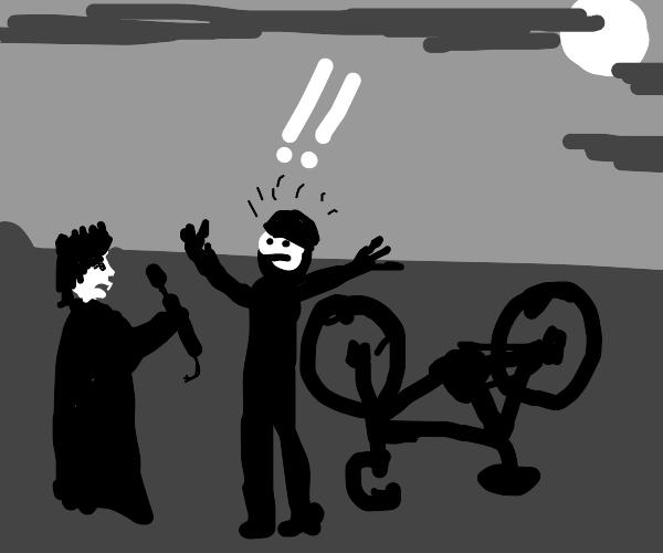 Queen of vampires offers to fix man's bicycle