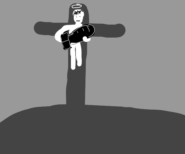 crucified jesus holding a bomb