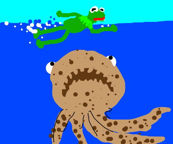 Cookie squid chases Kermit