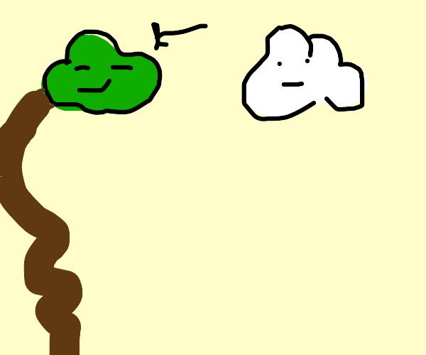 A green cloud taking a lonng crap.