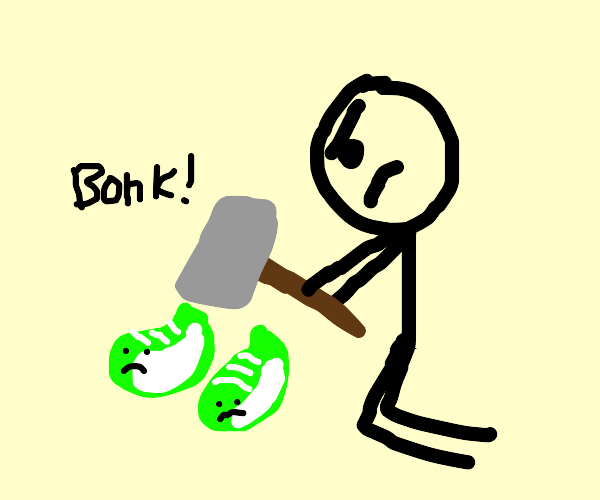 Stick Figure hammers green shoes