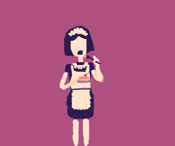 Maid eating Cake