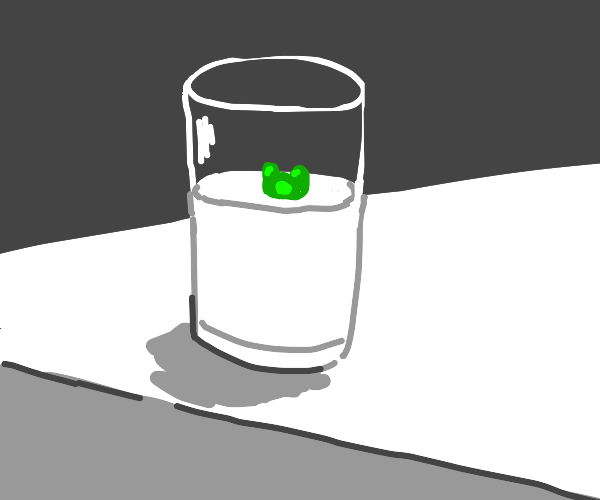 Gummy bear in a glass of milk (WHY)