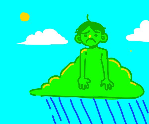 Green Cloud kid is upset