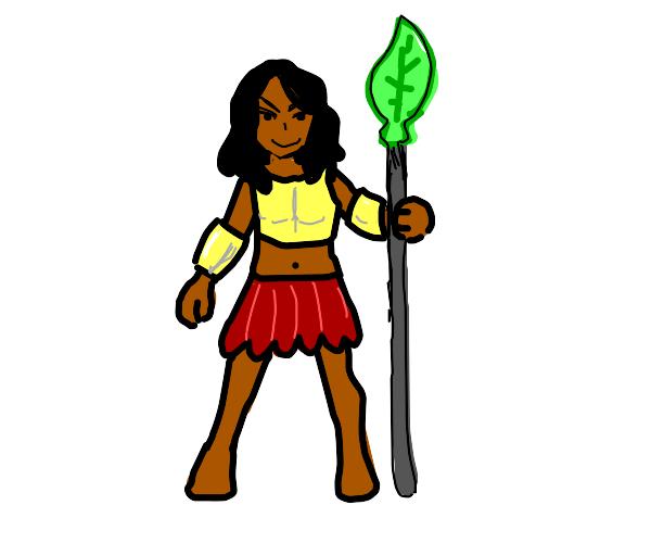 a warrior girl with a leaf spear