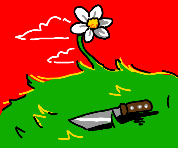 A flower with a knife