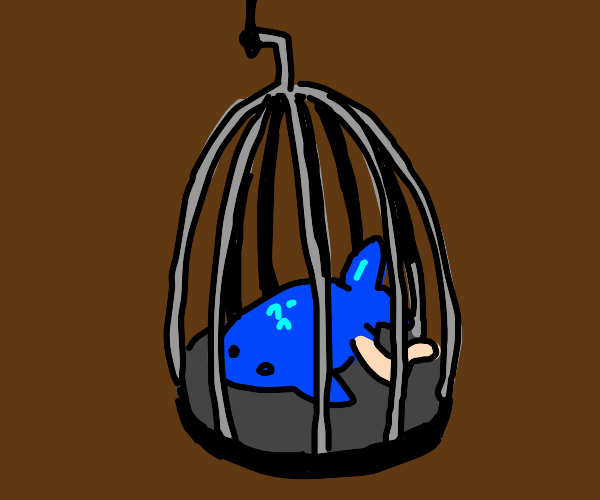 Fishman dies in the cage