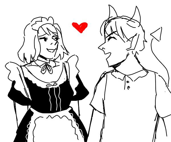 maid girl and devil flirt