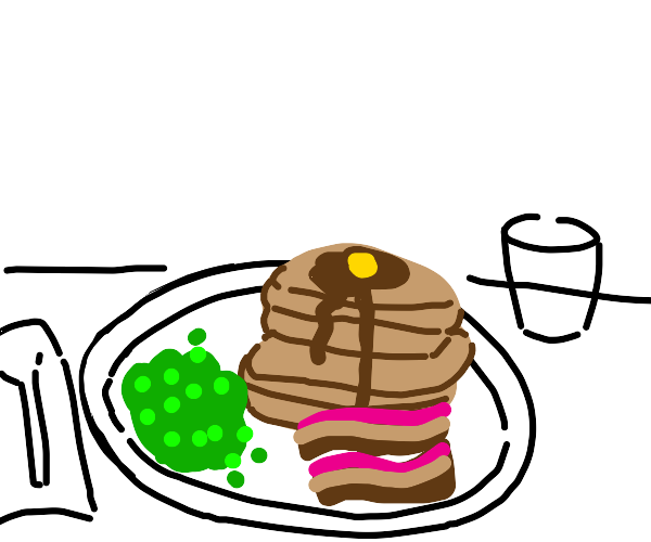 Peas, Pancakes and Bacon for breakfast