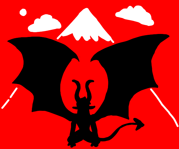 Shadowy demon in front of mountain