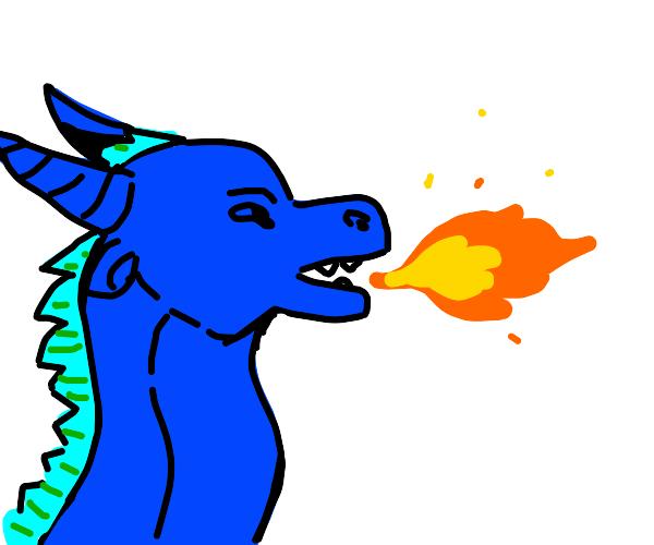 Blue dragon breathing fire