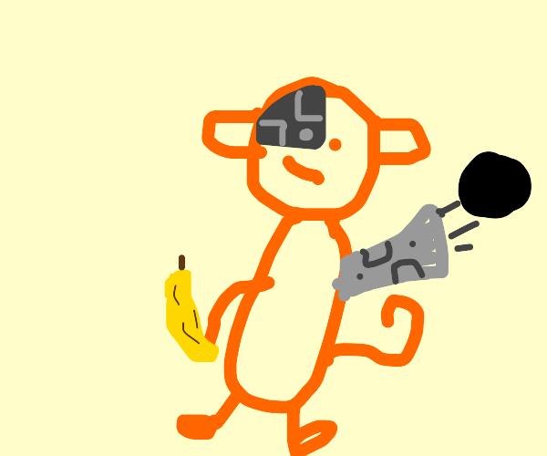 Cyborg orange monkey with arm cannon