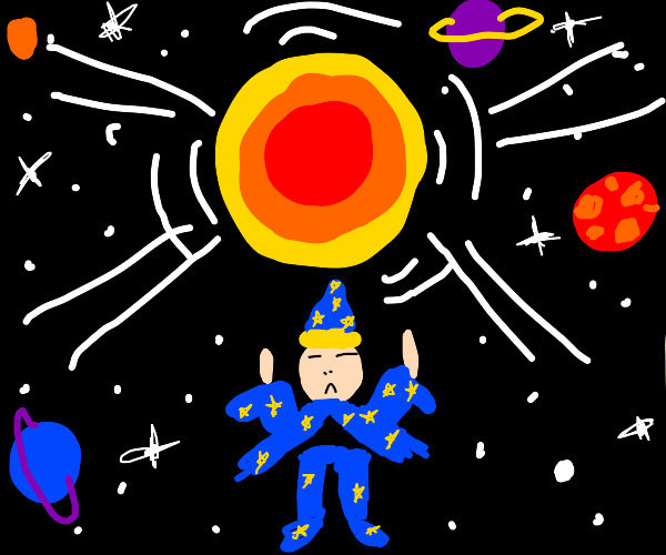 Sorcerer holds up sun in galaxy