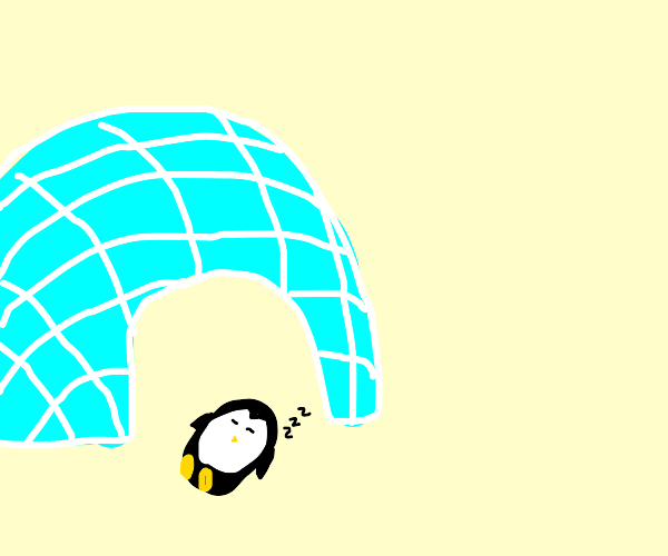 Sleeping penguin by an ice cave