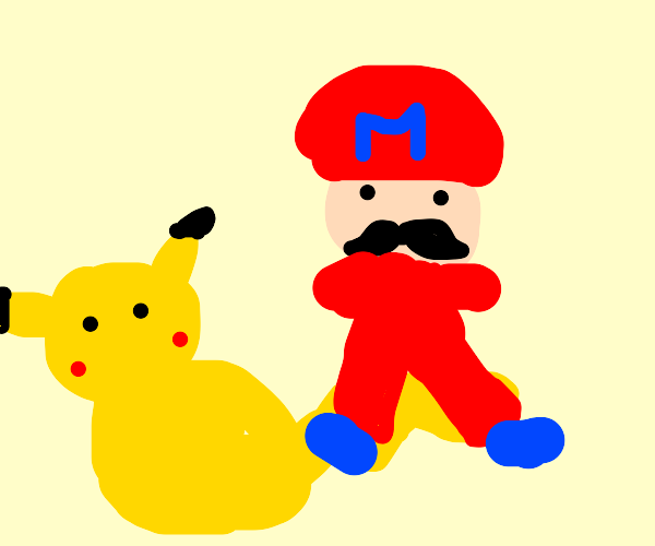 Pikachu's tail gets pummeled by Mario