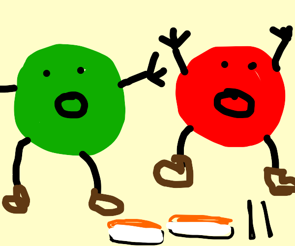 the 1960 m&m mascots are afraid of sushi!!!!!