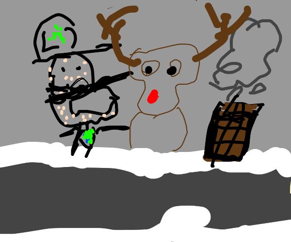 Luigi panics when faced with Rudolf
