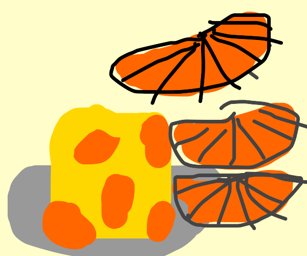 a number of orange slices by a cube of cheese