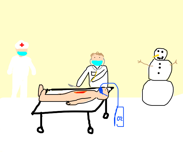 Surgeon doing surgery in the snow