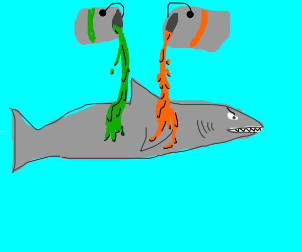 shark with green+orange liquid poured on it
