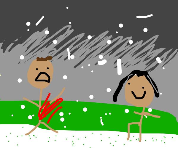 snow falling, man bleeding, granny kneeling