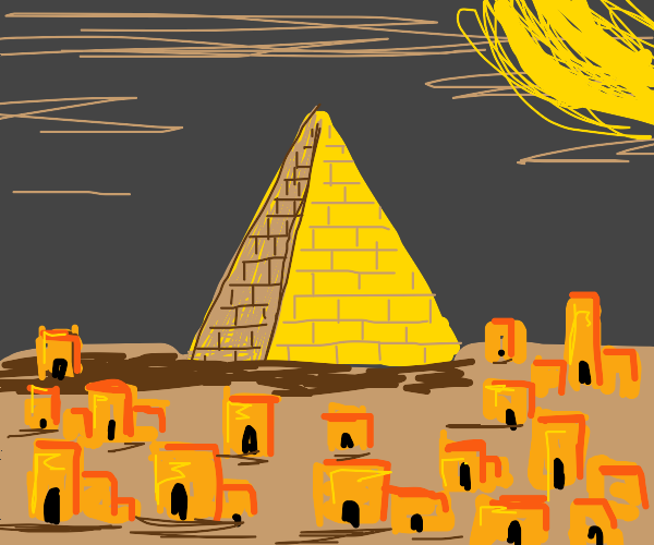 Desert city built around a pyramid