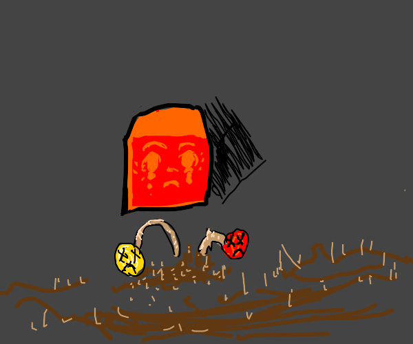red cube sad that flowers died