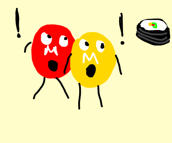 two m&ms shocked by sushi
