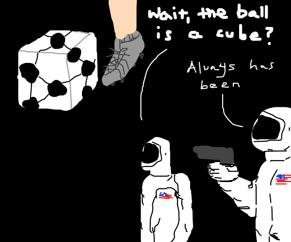 Soccer match but the ball is a cube