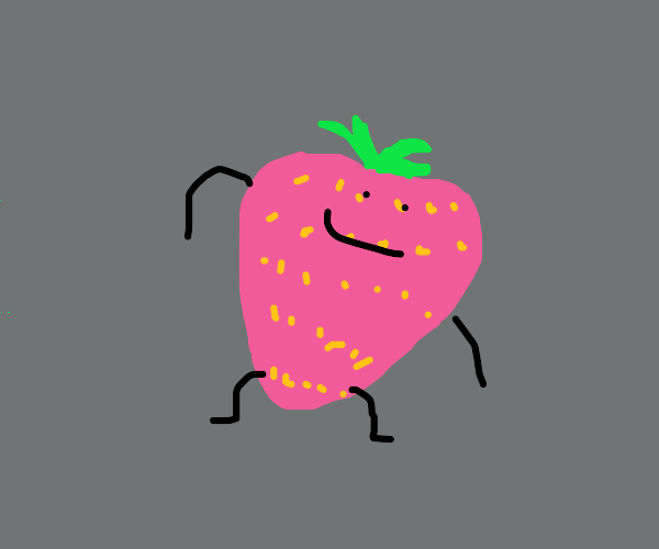 A very happy strawberry with tiny legs