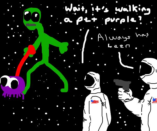 Green alien walking a pet purple
