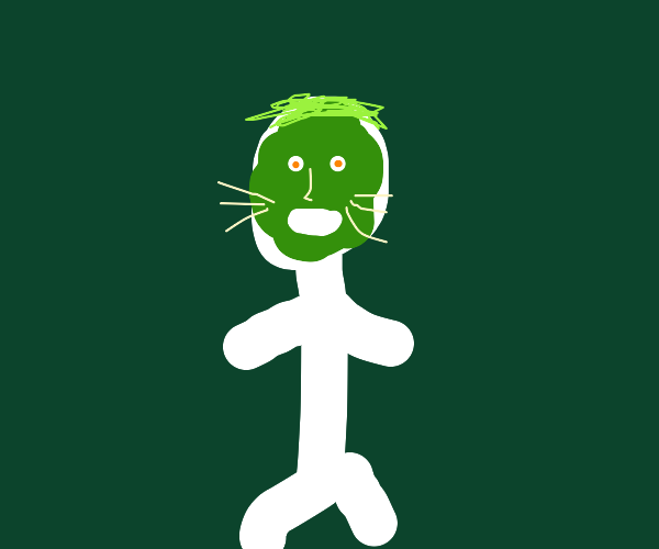 Person with blue face and cat whiskers