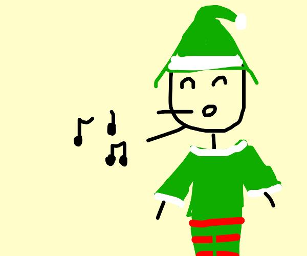 Singing happy little elf