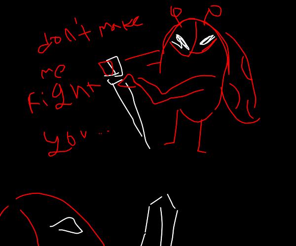 Ladybugs in a sword battle.
