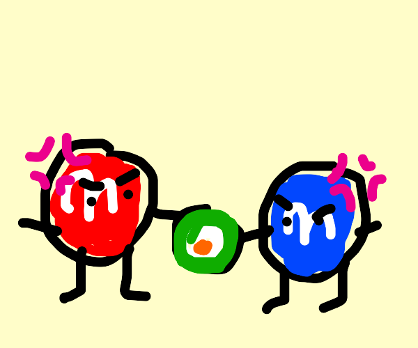m&m's fighting over sushi