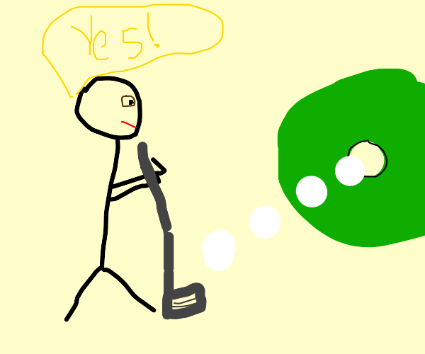 stick man gets a hole in one!