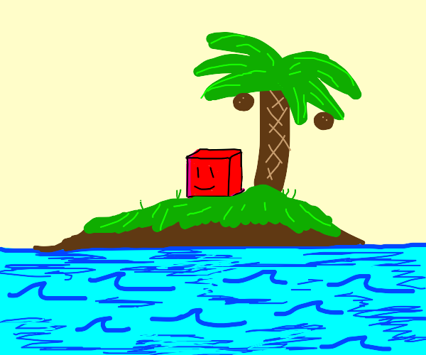 Happy cube on an island