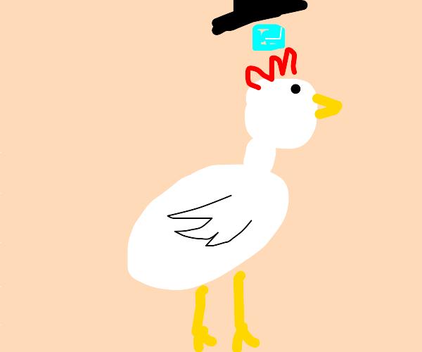 Chicken with ice under it's top hat