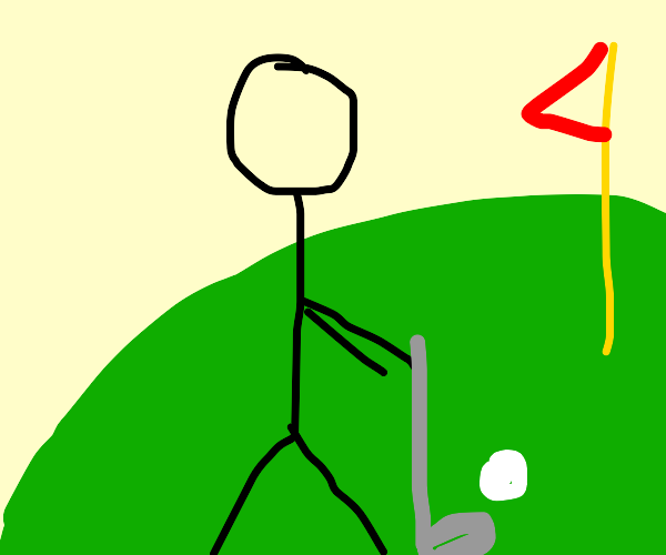 Stickman playing golf